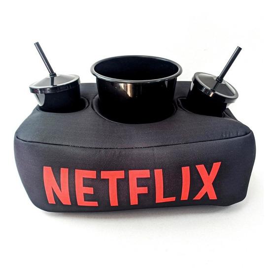 Kit Almofada C/ Porta Pipoca Balde +2 Copos Netflix Envio Hj