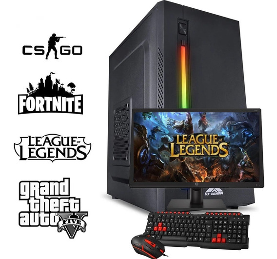 Pc Gamer Completo Com Monitor Amd A8, 1tb, 8gb, Win 10 Trial