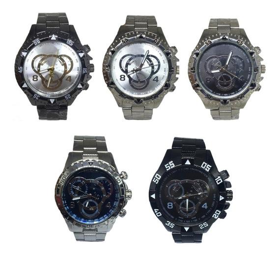 Kit 5 Relógio Masculino Barato Grande Exclusivo Atacado Reve
