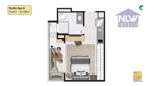 Imagem 1 de 16 de Studio Com 1 Dormitório À Venda, 31 M² Por R$ 356.673,94 - Pinheiros - São Paulo/sp - St0210
