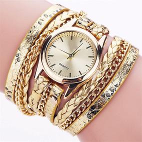 Relógio Feminino Dourado Pulseira Couro De 3 Voltas Barato