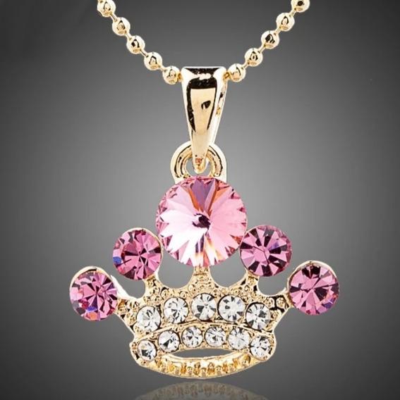 Hermoso Dije Reina Corona Cristal Pulido Lamina Oro Mujer!!!