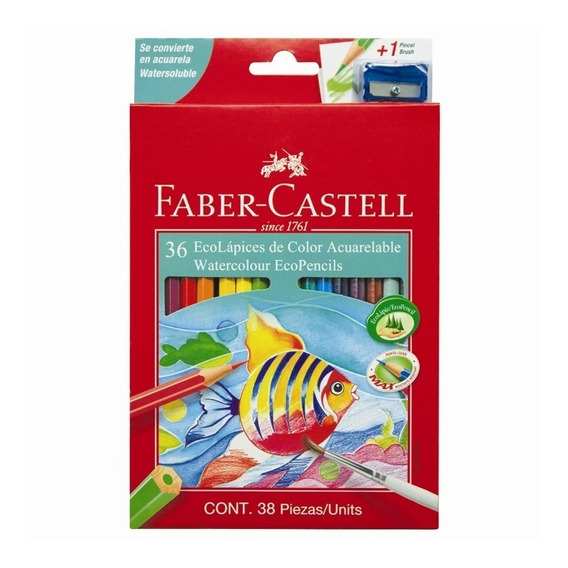 Lapices Faber Castell Acuarelables X36 + Sacapunta Y Pincel