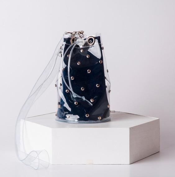 Bolso Bucket Pvc Tachas Transparente Roj Azul Am Negro Beige