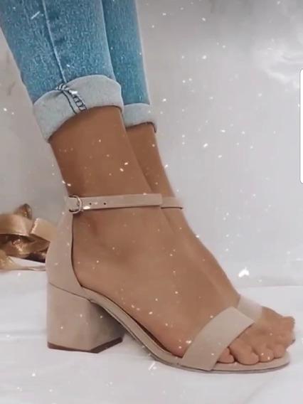 Sandalias Bajas Con Talonera Y Pulsera Gamuzadas