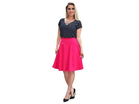 Conjunto Saia Midi Gode Blusinha Moda Evangelica Feminina