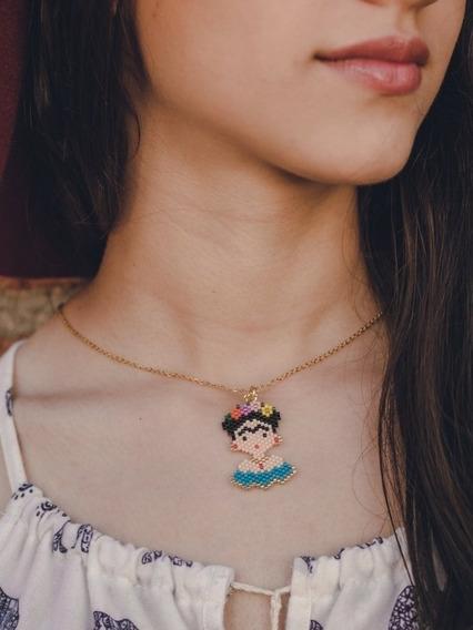 Collar Frida Kahlo Miyuki Cadena Acero Moda Delicas Joyería