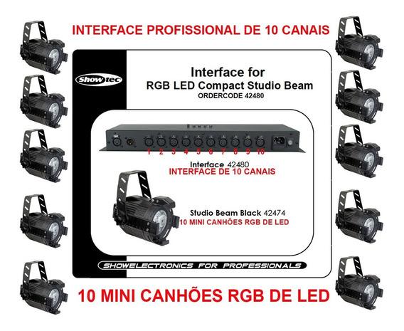 Interface Profissional C/ 10 Mini Canhões De Led Rgb