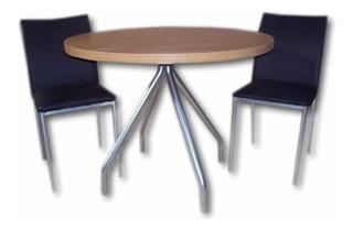 Juego Cocina Comedor Redonda Combo Mesa 1 M + 4 Sillas Iris Caño Pintado Reforzado Directo Y Garantia De Fabrica Clasic