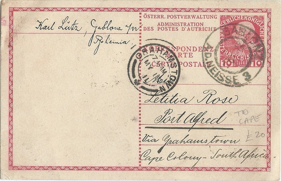 Entero Postal Tarjeta Imperio Austro Húngaro Año 1911