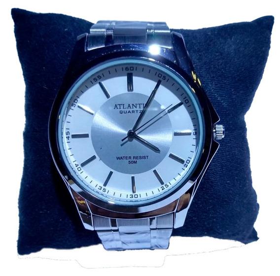 Relógio Atlantis Analógico Prata Fundo Branco - A3071