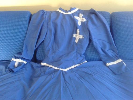 Vestido De Prenda Poliéster Sedinha Azul 40