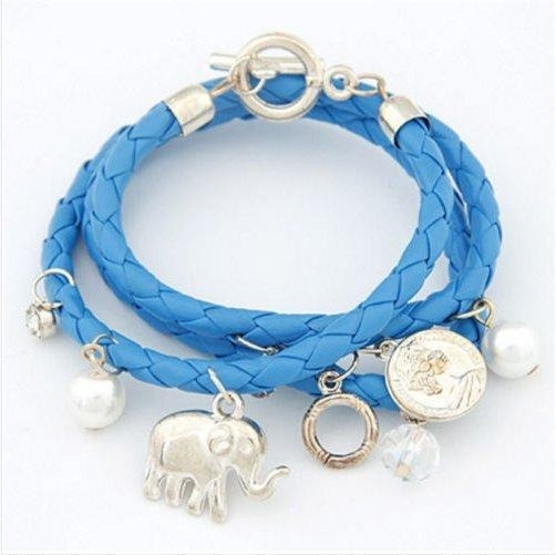 Pulseira Bracelete Elefante Feminina - Couro Azul