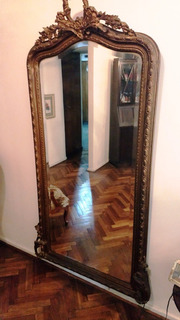Antiguo Espejo Frances Tallado En Madera, Biselado