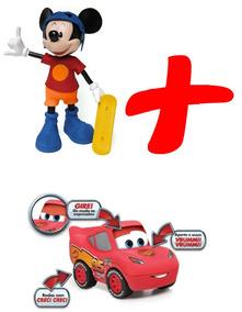 Mickey Skatista Falante + Carros 3 Relâmpago Mcqueen Elka