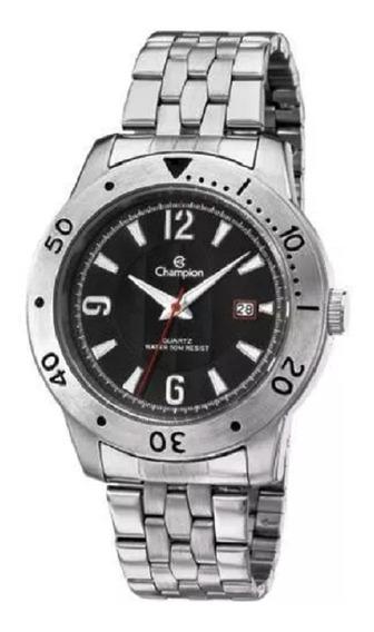 Relógio Masculino Champion Prata Com Preto Ca30169t