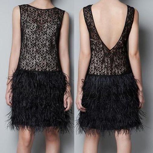 Vestido Zara Woman Adorno De Pluma L #549
