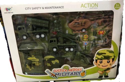 Set Militar Juguete Guerra Helicoptero Tanque Vehiculos Mas