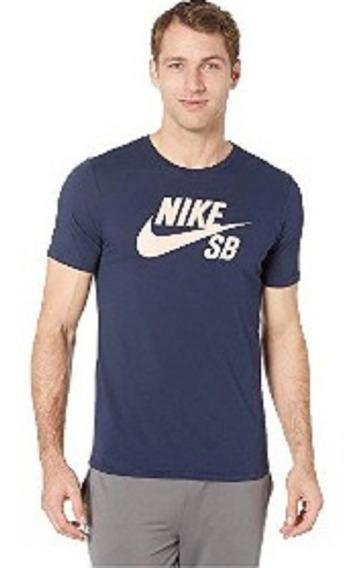Playera Nike Sb Dry Fit Azul Logo Rosa Talla Chica Original