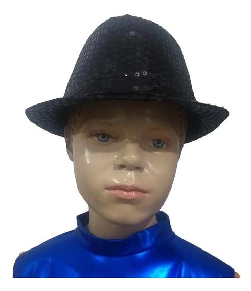 Sombrero Negro Con Lentejuelas Para Niño