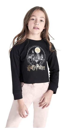 Playera Manga Larga Harry Potter De Niña C&a (mod 3002356)