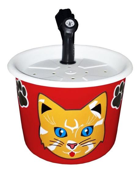 Bebedouro Fonte Para Gatos 1,5l Vermelho