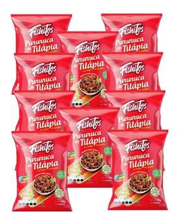 Snack Pururuca Tilápia Toque Limão Com 10 Pacotes Fishitos