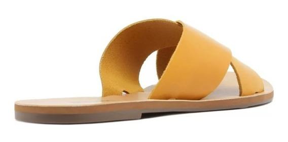 Rasteira Anacapri Amarela De Couro Com Tiras #179
