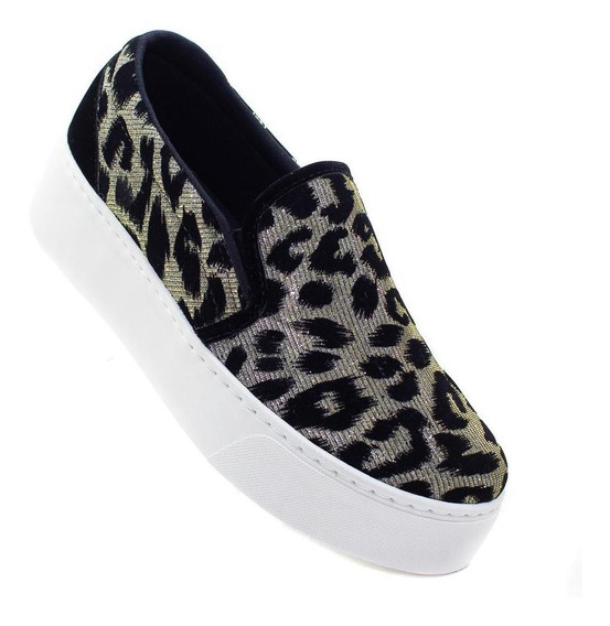 Slip On Solado Branco Animal Print Lurex