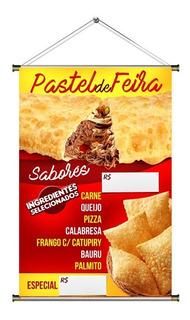 Banner De Pastel Frito Na Hora (sabores) - 60x90cm