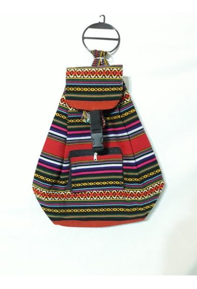 Mochila De Aguayo Bolso Artesanal Etnica Tiras 44x27cm