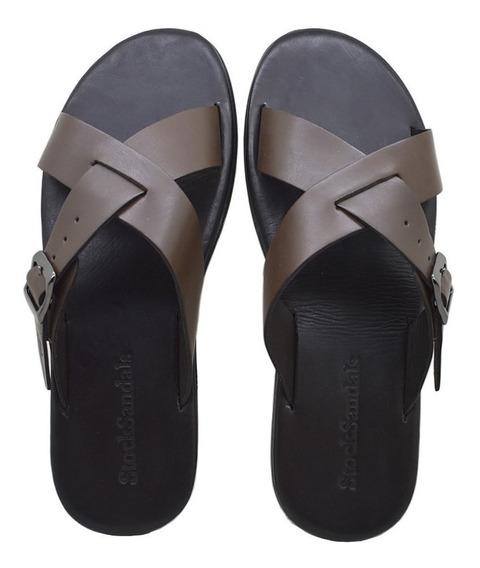 Chinelo Masculino De Couro Stock Sandals Argo Café