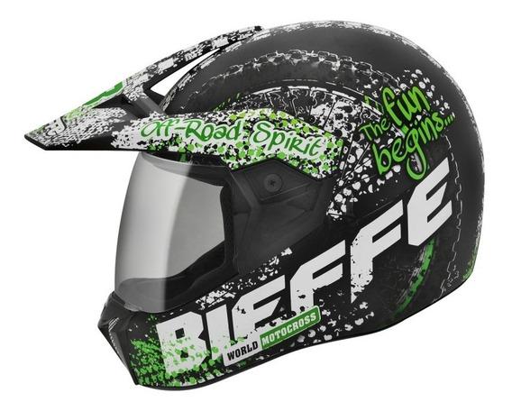 Capacete Bieffe 3 Sport Dirt Preto / Verde