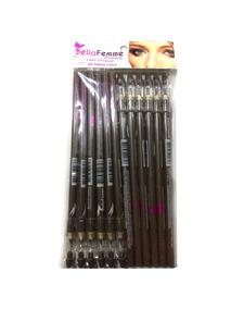 12 Lápis Para Olhos Marrom C/ Apontador Bella Femme