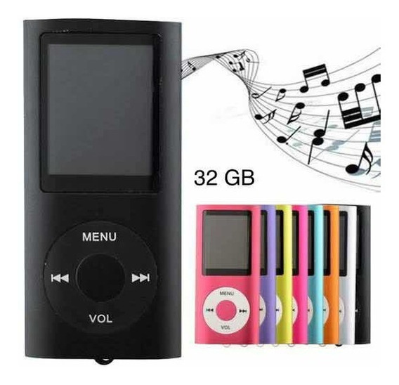 Mp4 Player Fino Slim Gravador Voz Radio Fm Filmes Cores 32gb