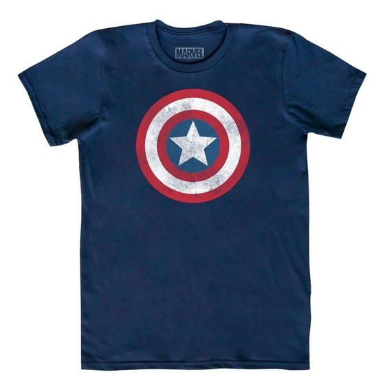 Playera Mascara De Latex Capitán América Logo Marvel