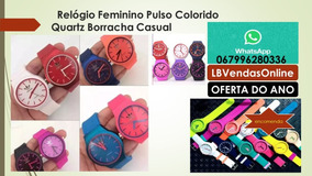 Relógio Feminino Pulso Colorido Quartz Borracha Casual