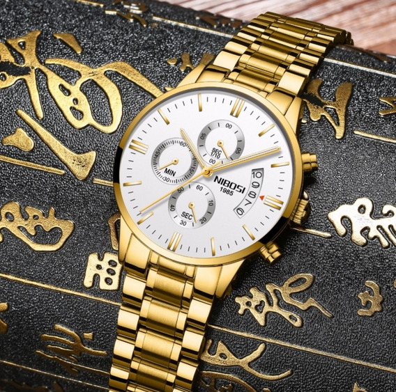 Relógio Resistência Nibosi Dourado Aço Modelo 2309 Na Caixa