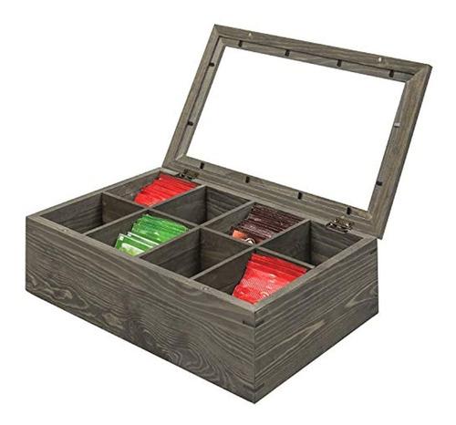 Caja De Madera Para Té 8 Compartimentos Gris, Marca Pyle