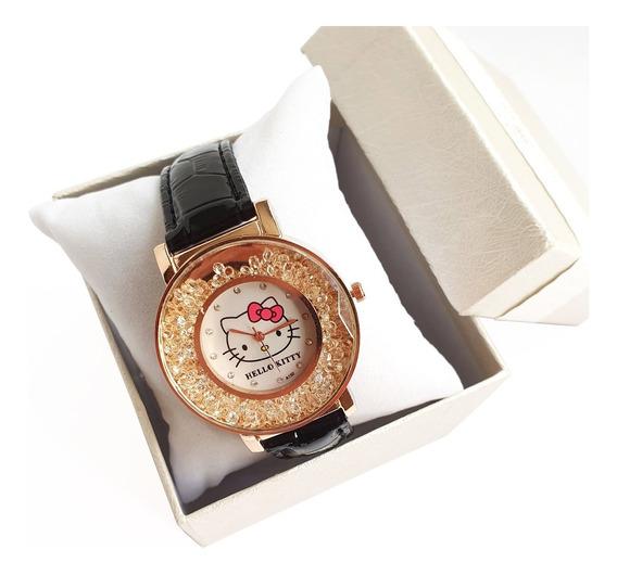Reloj Pulsera Hello Kitty Negro Con Cristales Envio Gratis