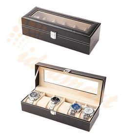 Caixa Estojo Guarda 6 Relógio Grande Recouro Sintética