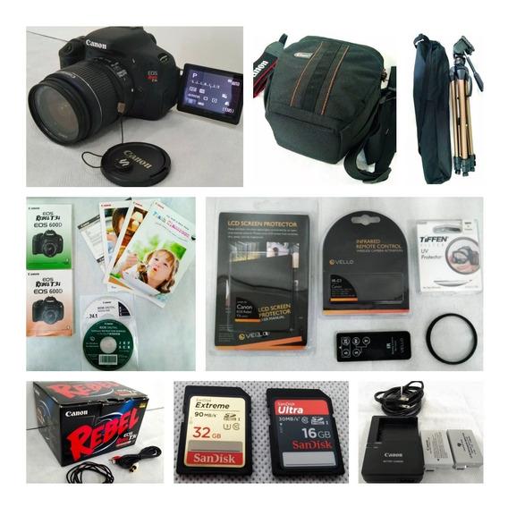 Câmera Digital Rebel T3i + Acessórios + Bolsa + Tripé