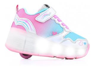 Zapatillas Footy Roller Hi Bicolor Rueda Con Luces Led 0050