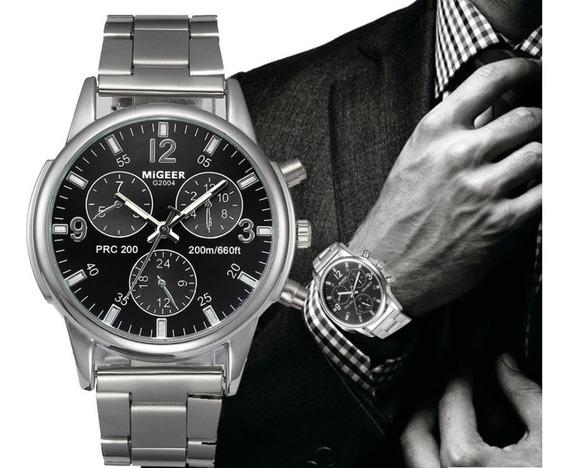 Relógio Luxo Masculino Migger Esporte Pulseira Inoxidável