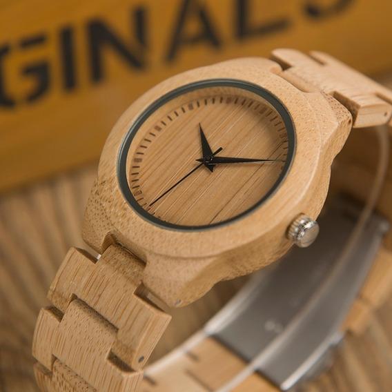 Relógio Unissex Bambu Analógico Bobo Bird L28 + Frete