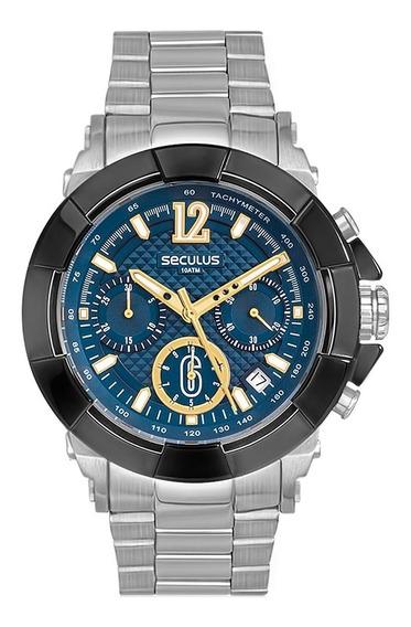 Relógio De Pulso Seculus Masculino 20386gpsvca2 - Prata