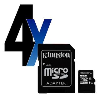 Cartão Memória Microsdhc 16gb 80mb/s Kingston 4un