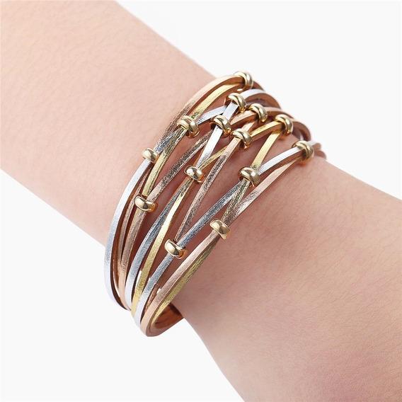 Bracelete Em Couro Dourado Rose E Prata