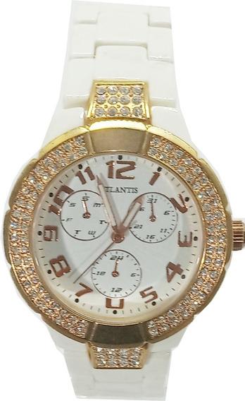 Relógio Atlantis Feminino Detalhes Rosê