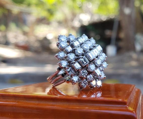 Anillo Oro Blanco De 14k Y Diamantes Naturales 3.0 Quilates